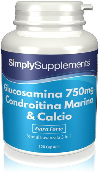 Glucosamina 750 mg, Condroitina Marina & Calcio 50mg
